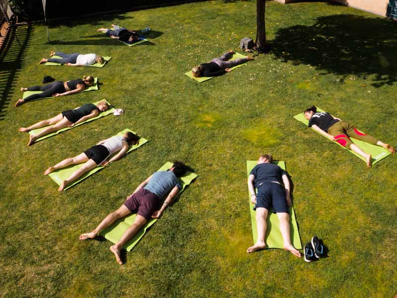surfcamp portugal yoga session outdoor