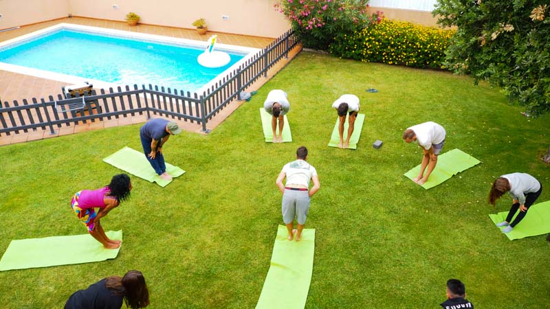 yoga session surf cam garden portugal